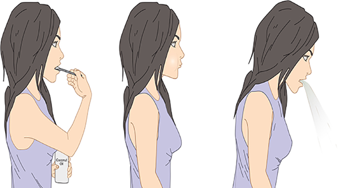 illustration of woman using coconut oil to swish